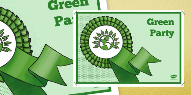 United Kingdom Political Green Party Display Poster - british values, politics, uk