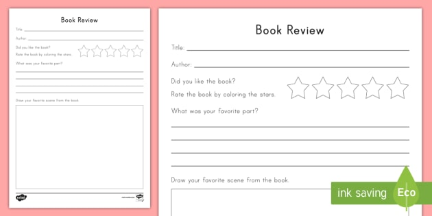 Book Review Worksheet Activity Sheet Book Review Opinion