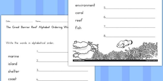 Great Barrier Reef Alphabet Ordering Worksheet - australia, reef