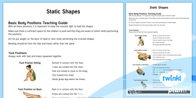 Gymnastics Static Body Shapes Adult Guidance - PE, Y3, Y4, KS2, gymnastics, static shapes, tuck, pike, straddle, positions, adult guidance, guide