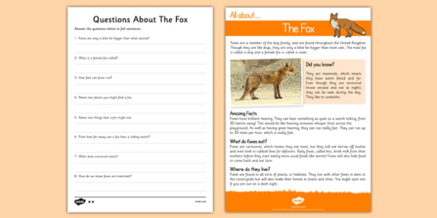 Fox Reading Comprehension - Reading comprehension, fox, find, locate, read, comprehend, fact, title, fact file, information, question