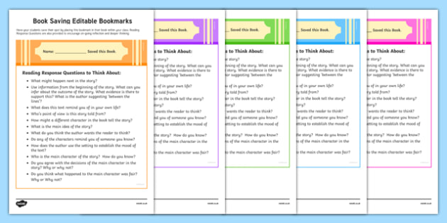 Book Saving Editable Bookmarks