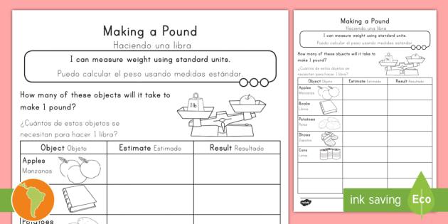 making a pound worksheet worksheet english spanish measurement grams. Black Bedroom Furniture Sets. Home Design Ideas