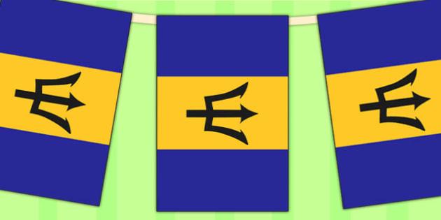 Barbados Flag Display Bunting - commonwealth, display, flags