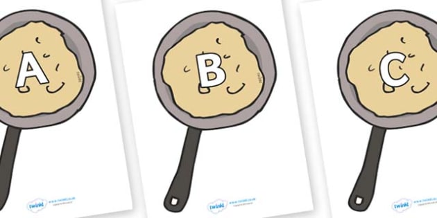 A-Z Alphabet on Pancakes - A-Z, A4, display, Alphabet frieze, Display letters, Letter posters, A-Z letters, Alphabet flashcards