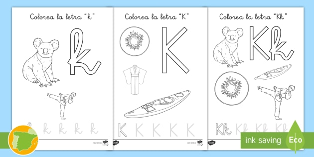 NEW * Hoja de colorear: La letra k - alfabeto, abecedario