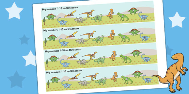 1-10 on Dinosaurs Number Strips - Maths, Math, number track, dinosaur, Numberline, Number line, Counting on, Counting back, counting, t-rex, stegosaurus, raptor, iguanodon, tyrannasaurus rex