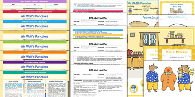 EYFS Lesson Plan Enhancement Ideas and Resources Pack to Support Teaching on Mr Wolf's Pancakes - planning, Early Years, continuous provision, early years planning, adult led, Mr Wolf's Pancakes, Jan Fearnley, Pancake Day, Shrove Tuesday