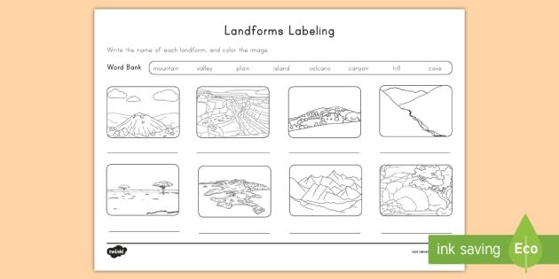 landform labeling activity sheet landforms island mountain. Black Bedroom Furniture Sets. Home Design Ideas
