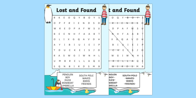 Word Search to Support Teaching on Lost and Found - word search, word game, find the word