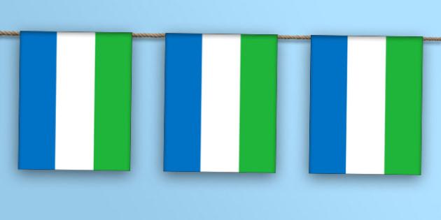 Sierra Leone Flag Display Bunting - countries, geography, display