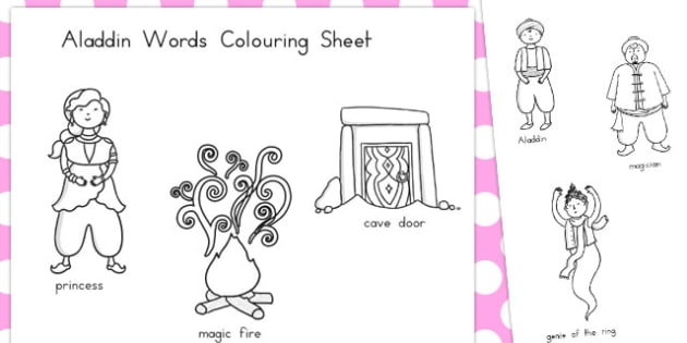 Aladdin Words Colouring Sheet - colour, colours, worksheets