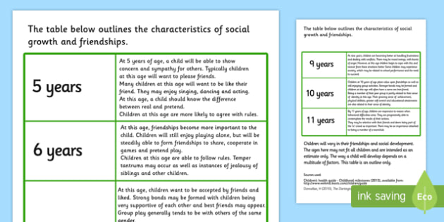 Characteristics Of Social Growth And Friendships In Children