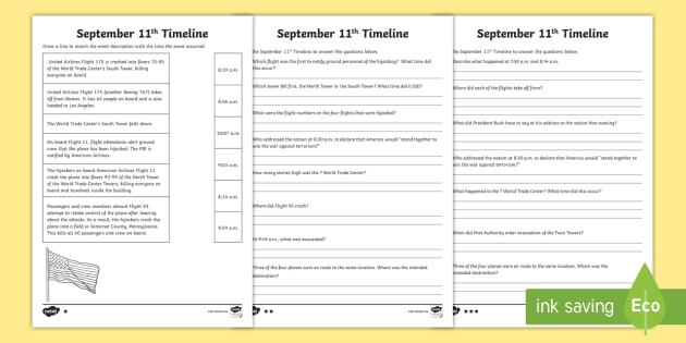 September 11th Differentiated Timeline Worksheet Activity