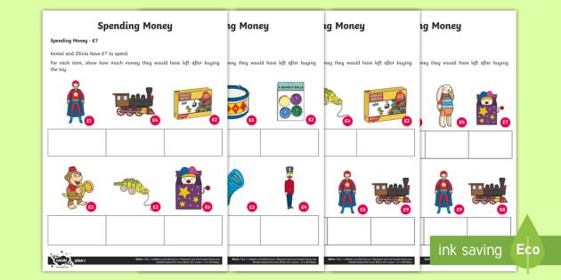 applying number bonds spending money worksheet worksheets addition and. Black Bedroom Furniture Sets. Home Design Ideas