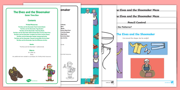 The Elves and the Shoemaker Quiet Time Box - The Elves and the Shoemaker, traditional tales, Christmas, elf, child minder, childminding, busy box