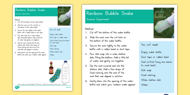 Rainbow Bubble Snake Science Experiment - usa, america, rainbow, bubble, snake, science experiment
