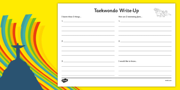 The Olympics Taekwondo Write Up Activity Sheet - the olympics, rio olympics, rio 2016, 2016 olympics,, worksheet
