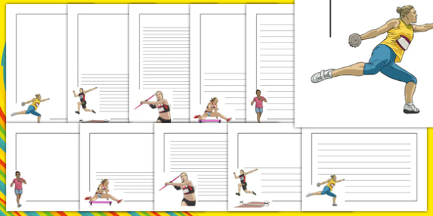 The Olympics Athletics Page Borders - Olympics, Olympic Games, sports, Olympic, London, 2012, page border, border, writing template, writing aid, writing aid, Olympic torch, flag, countries, medal, Olympic Rings, mascots, flame, compete, athletics, r