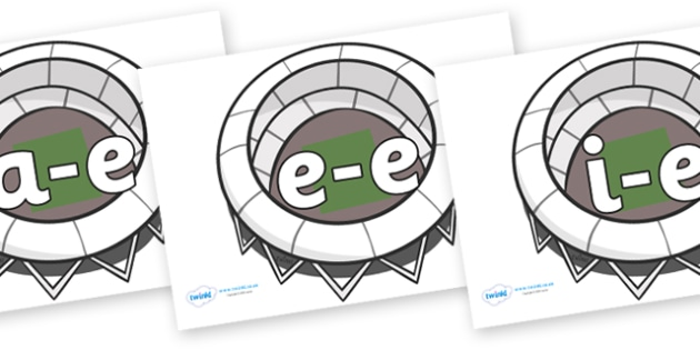 Modifying E Letters on Stadiums - Modifying E, letters, modify, Phase 5, Phase five, alternative spellings for phonemes, DfES letters and Sounds