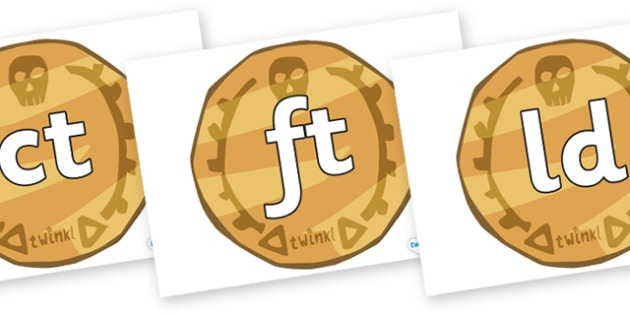Final Letter Blends on Pirate Coins - Final Letters, final letter, letter blend, letter blends, consonant, consonants, digraph, trigraph, literacy, alphabet, letters, foundation stage literacy