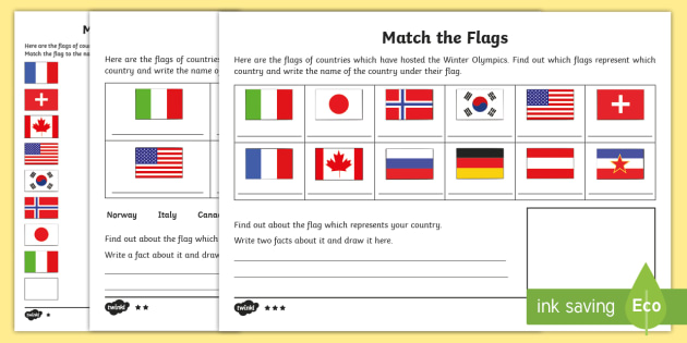 ks1 match the flags differentiated worksheet activity sheet