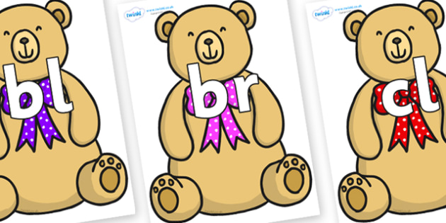 Initial Letter Blends on Bow Tie Teddy - Initial Letters, initial letter, letter blend, letter blends, consonant, consonants, digraph, trigraph, literacy, alphabet, letters, foundation stage literacy