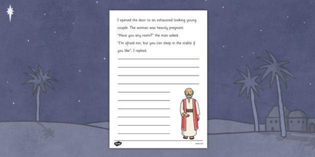 Story Starter Worksheets Innkeeper - nativity, innkeeper
