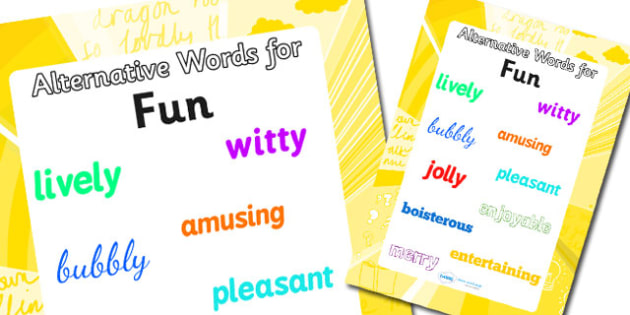 Alternative Words For Fun Display Poster (Large) - alternative words poster, alternative words for fun, synonym posters, powerful words, better words, ks2