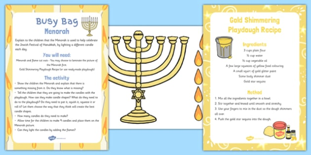 Menorah Busy Bag Resource Pack for Parents - menorah, busy bag, pack, parents
