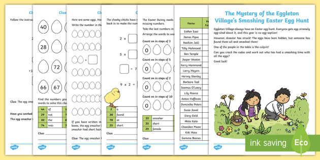 The Mystery of Eggleton Village's Smashing Easter Egg Hunt Game - KS1 Easter 2017 (16th April), mystery game, problem solving game, numeracy puzzles, numeracy skills,