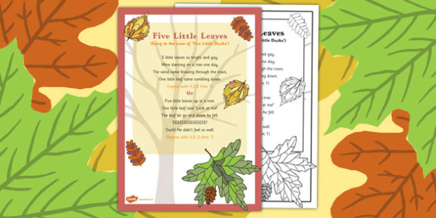 Five Little Leaves Rhyme - autumn, rhyme, music, eyfs, early years, five, leaves