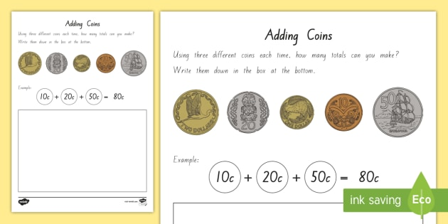 Adding New Zealand Coins Worksheet Activity Sheets New