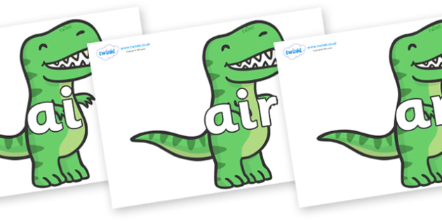 Phase 3 Phonemes on T Rex Dinosaurs - Phonemes, phoneme, Phase 3, Phase three, Foundation, Literacy, Letters and Sounds, DfES, display