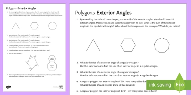 Polygons: Exterior Angles Worksheet / Activity Sheet   Exterior Angles,  Interior Angles, Polygons