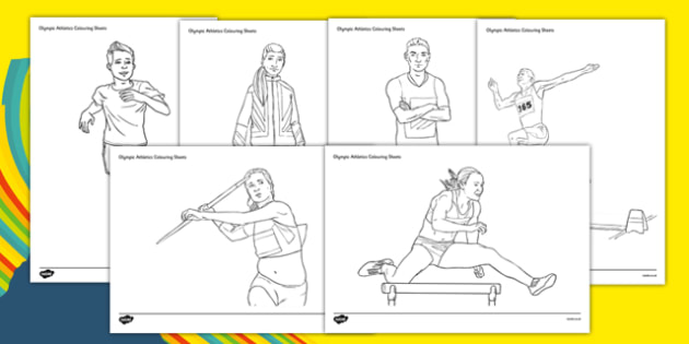 The Olympics Athletics Colouring Sheets - Olympics, Olympic Games, sports, Olympic, London, 2012, colouring, fine motor skills, poster, worksheet, vines, A4, display, Olympic torch, flag, countries, medal, Olympic Rings, mascots, flame, compete, athl