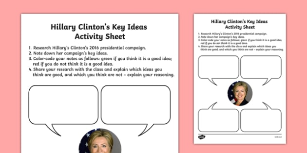 Hillary Clinton's Key Ideas Activity Sheet, worksheet