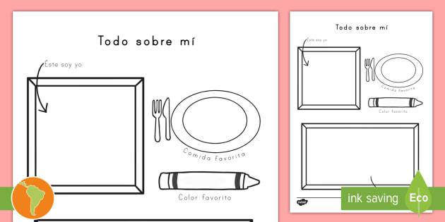 Hoja para dibujar y colorear: Todo sobre mí - Todo sobre mí