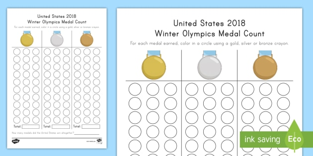 United States 2018 Winter Olympics Medal Count Worksheet / Activity Sheet - Rote Counting, Color Identification, PyeongChang Olympics, South Korea Olympics, Counting Skills, wo