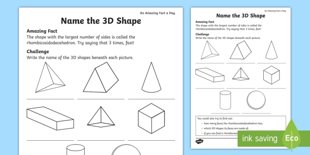 Name The 3d Shape Worksheet Activity Sheet Amazing Fact Of