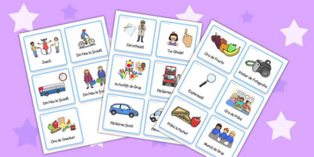 Activități în afara clasei - Cartonașe cu imagini