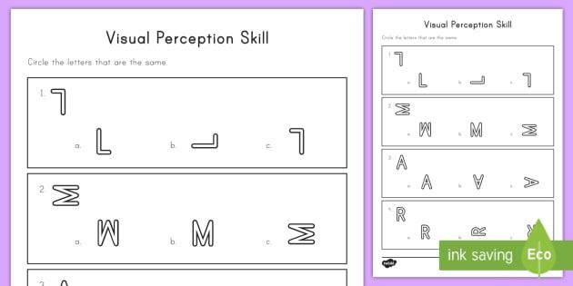 Visual Perception Worksheet Activity Sheet Visual