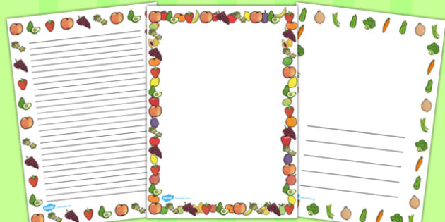 Fruit and Vegetables Themed A4 Page Borders - fruit, veg, border