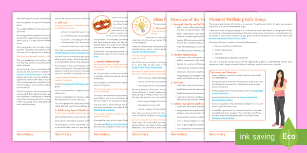 Girls' Wellbeing Group Worksheets - young people, self ...