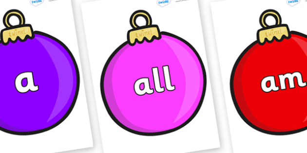 Foundation Stage 2 Keywords on Baubles (Plain) - FS2, CLL, keywords, Communication language and literacy,  Display, Key words, high frequency words, foundation stage literacy, DfES Letters and Sounds, Letters and Sounds, spelling
