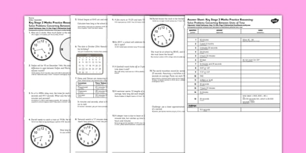 KS2 Reasoning Test Practice Solve Problems Converting Between Units of Time Polish Translation - polish, Key Stage 2, KS2, Reasoning, Test, Practice, Measurement, Time