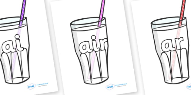 Phase 3 Phonemes on Milkshakes - Phonemes, phoneme, Phase 3, Phase three, Foundation, Literacy, Letters and Sounds, DfES, display