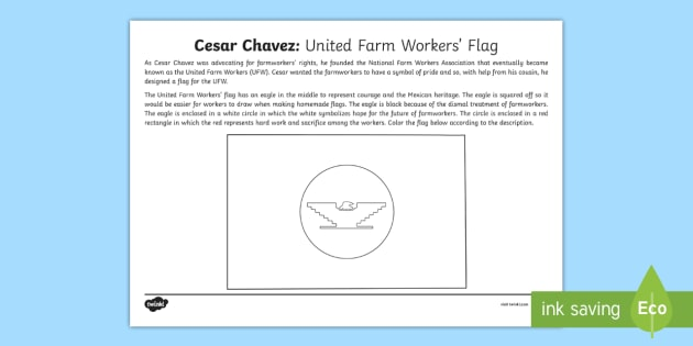 Cesar Chavez United Farm Workers Flag Activity Sheet