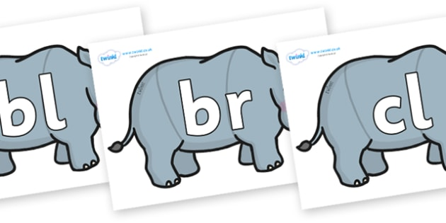 Initial Letter Blends on Rhinos - Initial Letters, initial letter, letter blend, letter blends, consonant, consonants, digraph, trigraph, literacy, alphabet, letters, foundation stage literacy