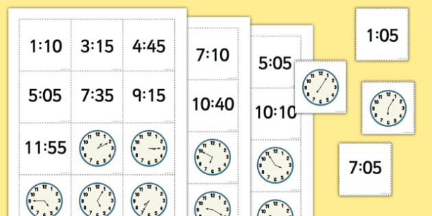Telling the Time Digital Analogue Pelmanism Game With 5 Minute Intervals - telling the time, game